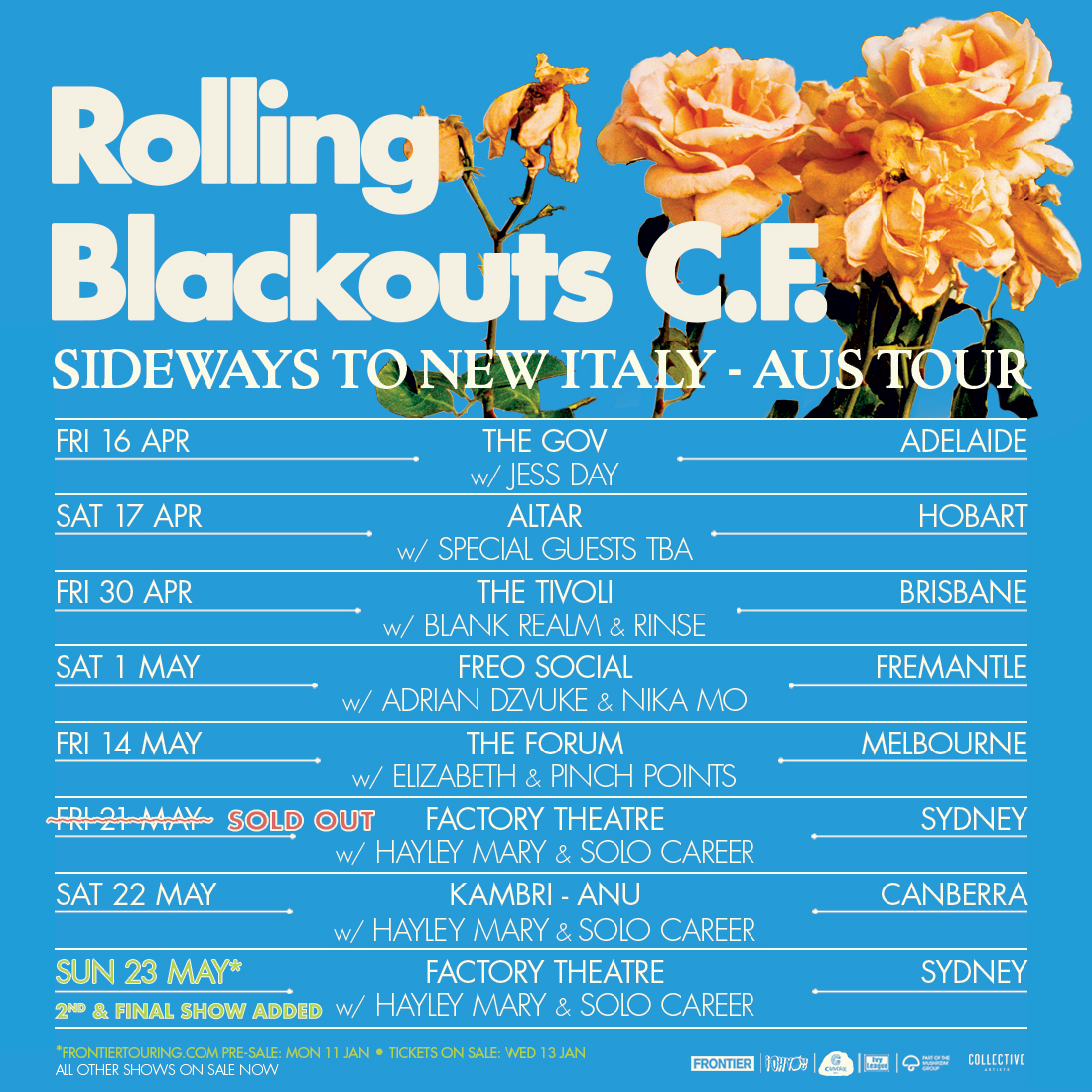 Rolling Blackouts Coastal Fever add second + final Sydney show to 'Sideways To New Italy' national tour