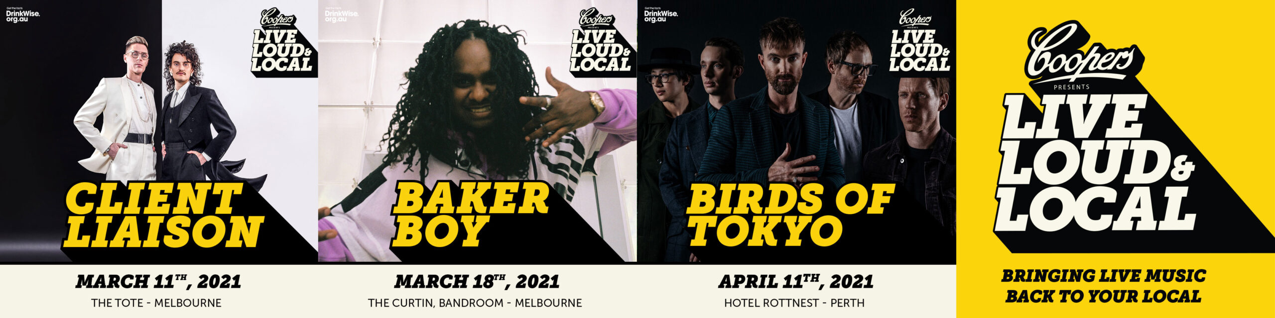 COOPERS & LIVE NATION RETURN ONCE AGAIN WITH LIVE, LOUD AND LOCAL –CLIENT LIAISON, BAKER BOY AND BIRDS OF TOKYO ANNOUNCED FOR NEXT ROUND –