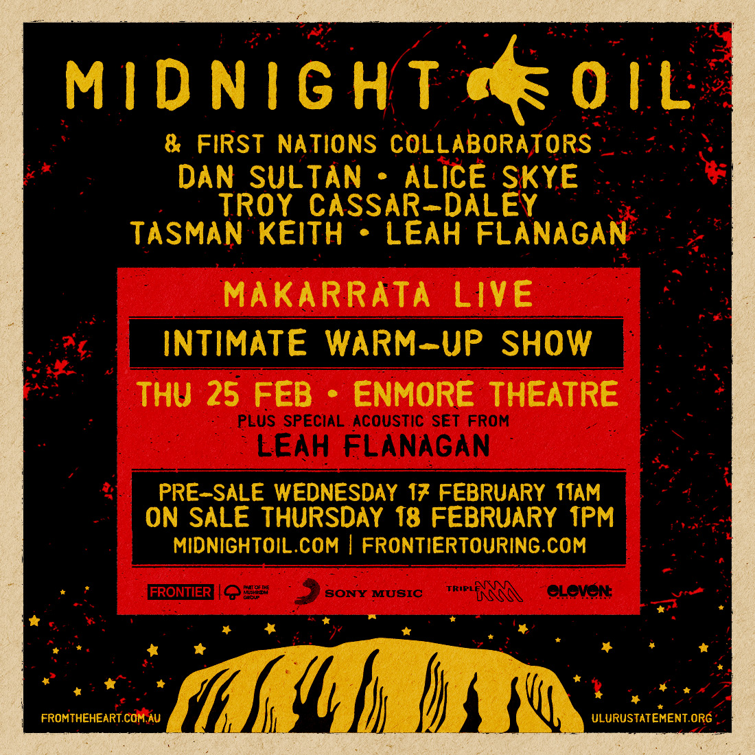 Midnight Oil to play 'Makarrata Live' intimate warm-up show on 25 Feb at Sydney's Enmore Theatre with First Nations collaborators