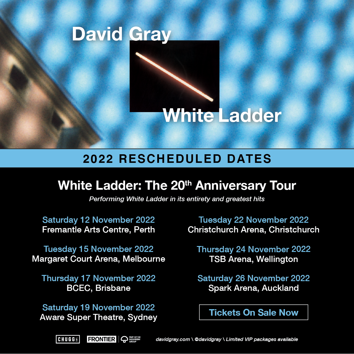 DAVID GRAY RESCHEDULES AU-NZ DATES FOR WHITE LADDER: THE 20TH ANNIVERSARY TOUR TO NOVEMBER 2022