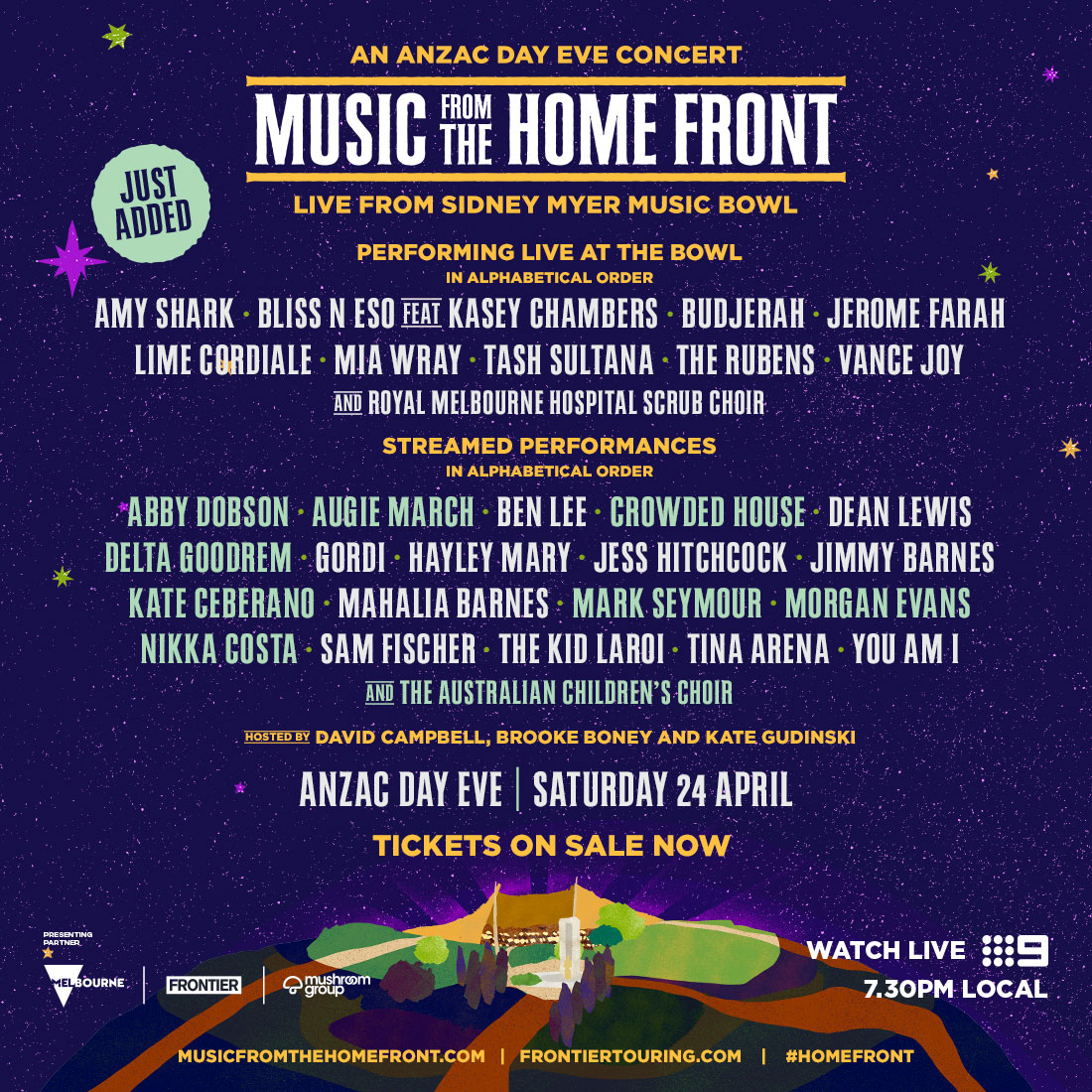 Music From The Home Front 2021 | Televised ANZAC Day Eve – Sat 24 Apr | More names added to the line-up!