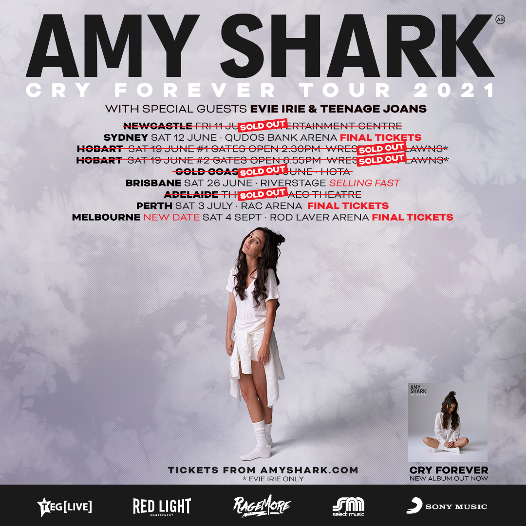 AMY SHARK'S 'CRY FOREVER' TOUR TO KICK OFF IN NEWCASTLE TOMORROW + ROD LAVER ARENA RESCHEDULED TO SEPTEMBER 4