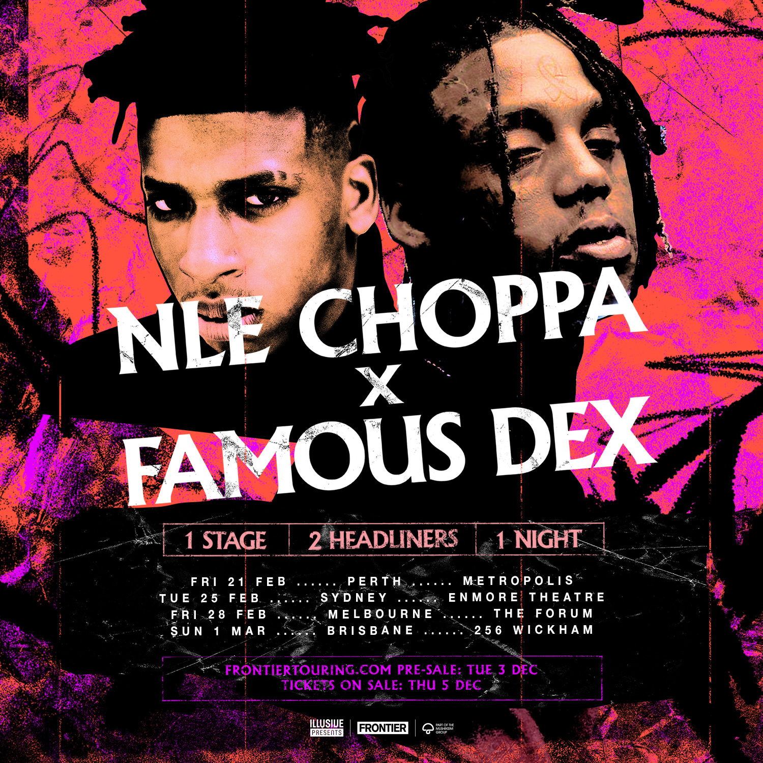 NLE CHOPPA & FAMOUS DEX MAKE THEIR AUSTRALIAN DEBUT IN FEBRUARY/MARCH 2020