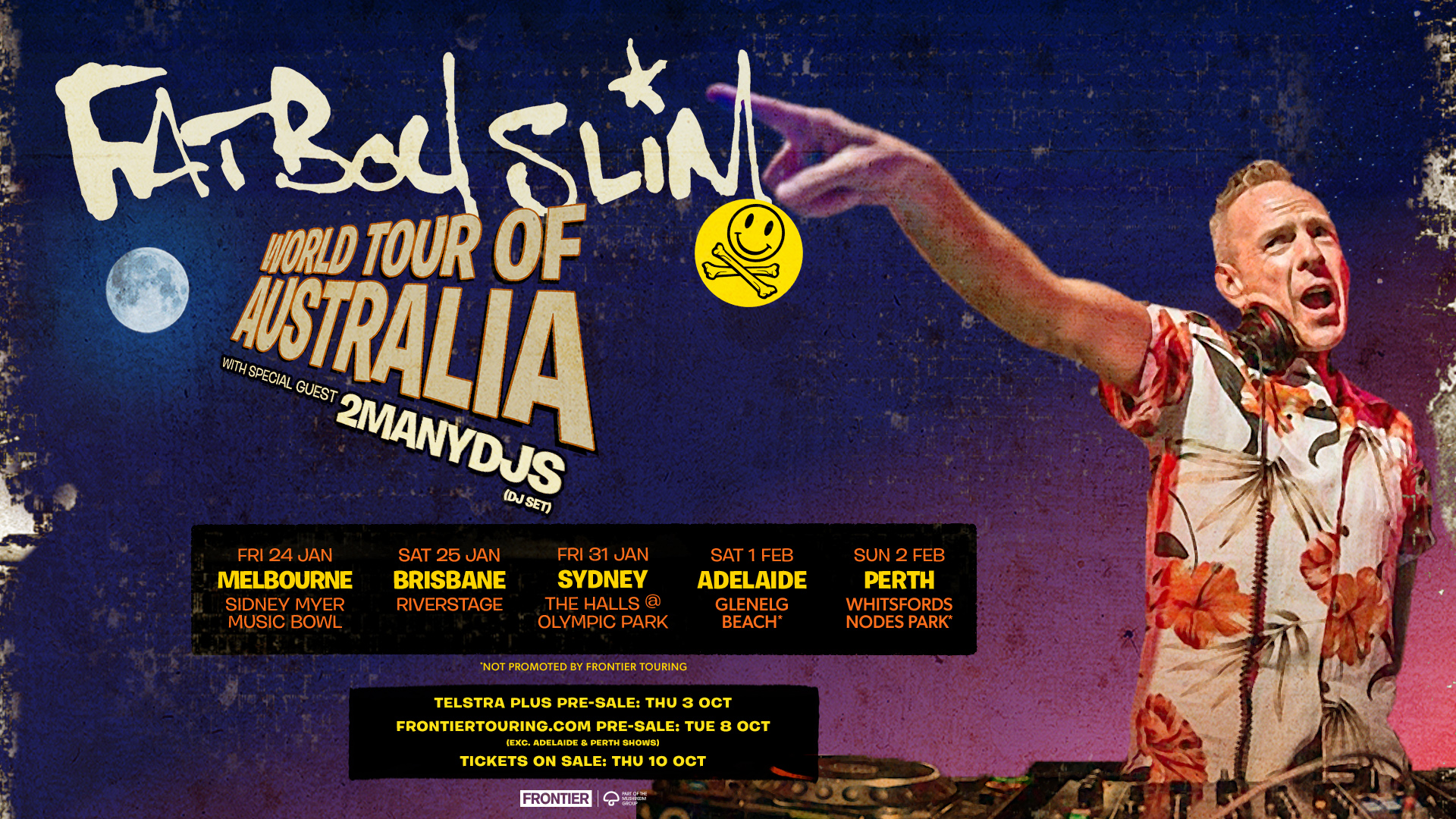 Fatboy Slim Is Heading Down Under For A Run Of Massive Headline Shows In Jan & Feb 2020